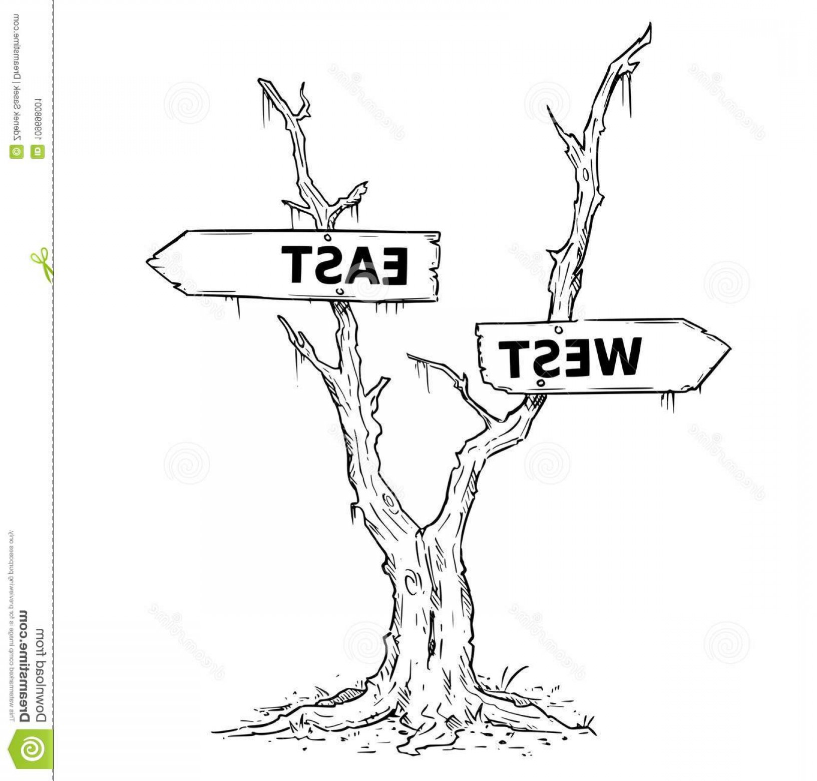 1632x1560 Two Arrow Sign Drawing West East Dead Swamp Tree Vector Drawing