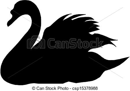 450x315 Black Vector Silhouette Of Swan.