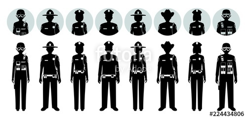 500x242 Police People Concept. Set Of Different Black Silhouettes And