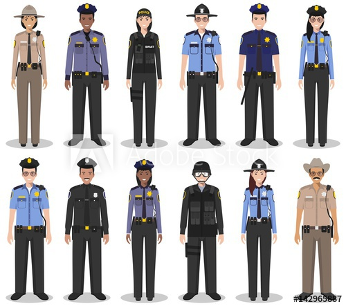 500x442 Police People Concept. Set Of Different Detailed Illustration Of