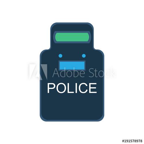 500x500 Police Swat Shield Vector Illustration Icon Guard Uniform Security