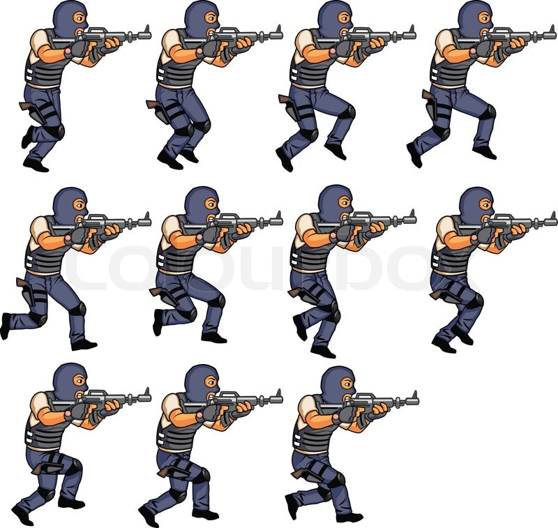 800x757 Swat Police Officer Running Animation Stock Vector Colourbox