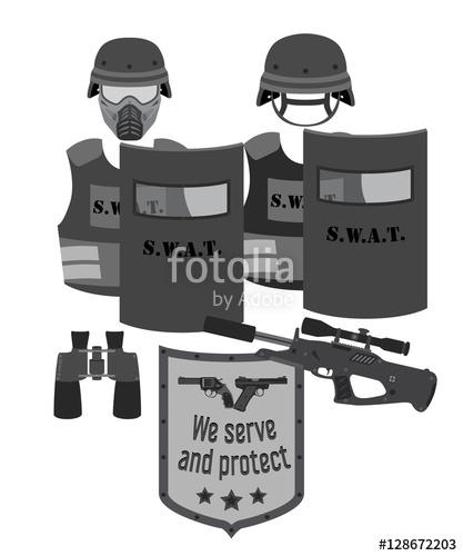 417x500 Serve And Protect Vector Illustration. Swat And Police. Flat Style