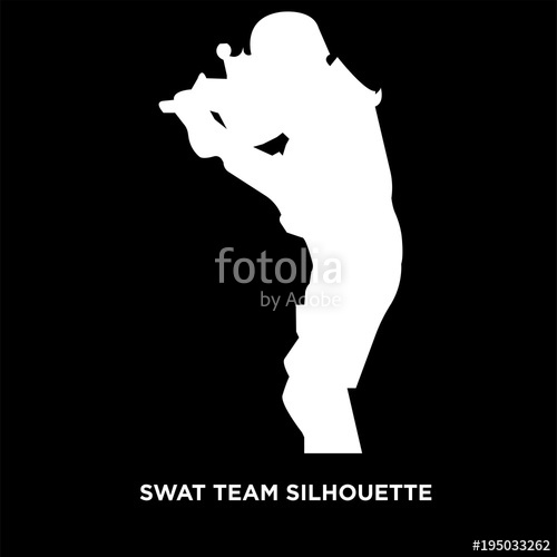 500x500 White Swat Team Silhouette On Black Background Stock Image And