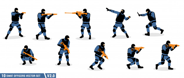 626x267 A Pack Of Swat Officers Silhouette Vector Premium Download