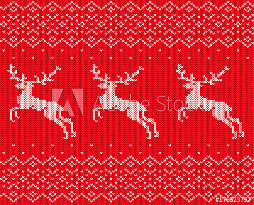 500x405 Knit Christmas Design With Deers And Ornament. Xmas Seamless