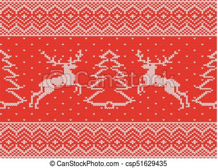 450x347 Knitted Christmas Ornament With Deers And Christmas Tree. Xmas