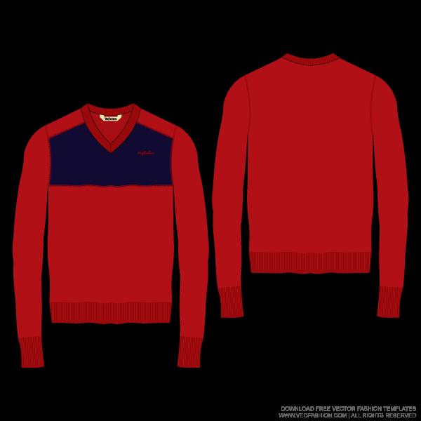 600x600 Men V Neck Color Blocked Woolen Sweater Vector Template Design