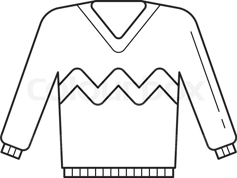 800x599 Sweater Vector Line Icon Isolated On White Background. Attire Line