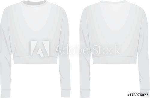 500x326 Women White Crop Sweater. Vector Illustration