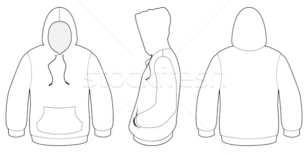 600x298 Hooded Sweater Template Vector Illustration. Vector Illustration