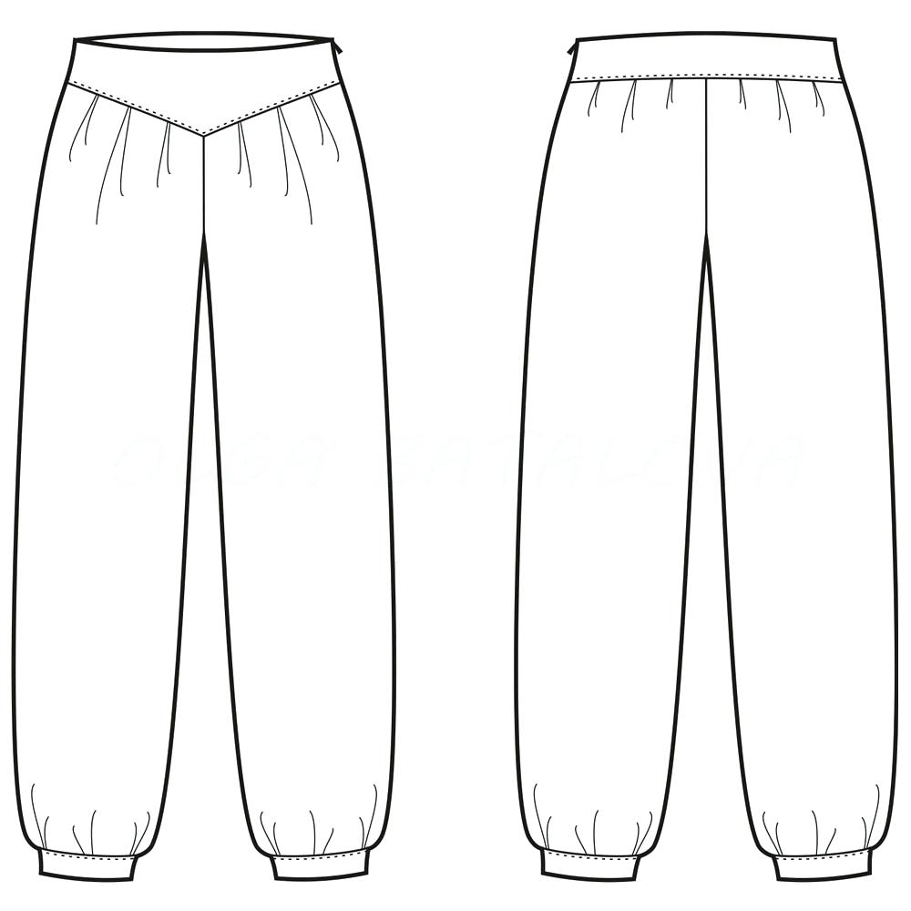 1000x1000 Template Pants Template Harem Fashion Flat Sweatpants Vector