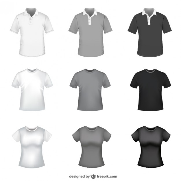 626x626 T Shirt In White, Grey And Black For Men And Women Vector Free