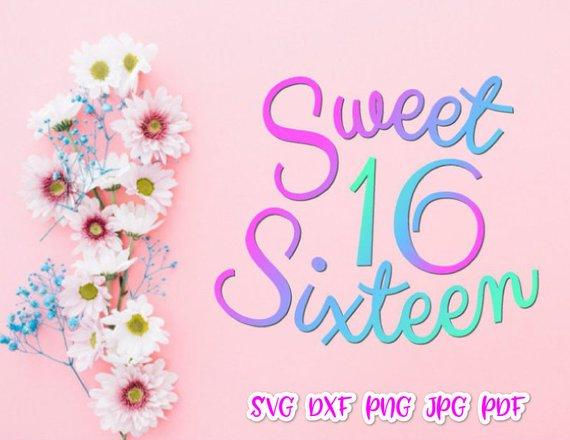 570x440 Sweet 16 Sixteen Birthday Girl Svg Files For Cricut Baby Onesie
