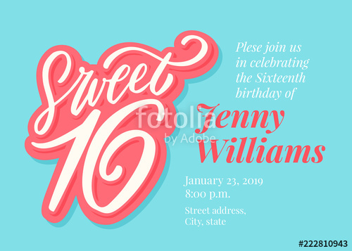 500x357 Sweet 16. Hand Lettering. Stock Image And Royalty Free Vector