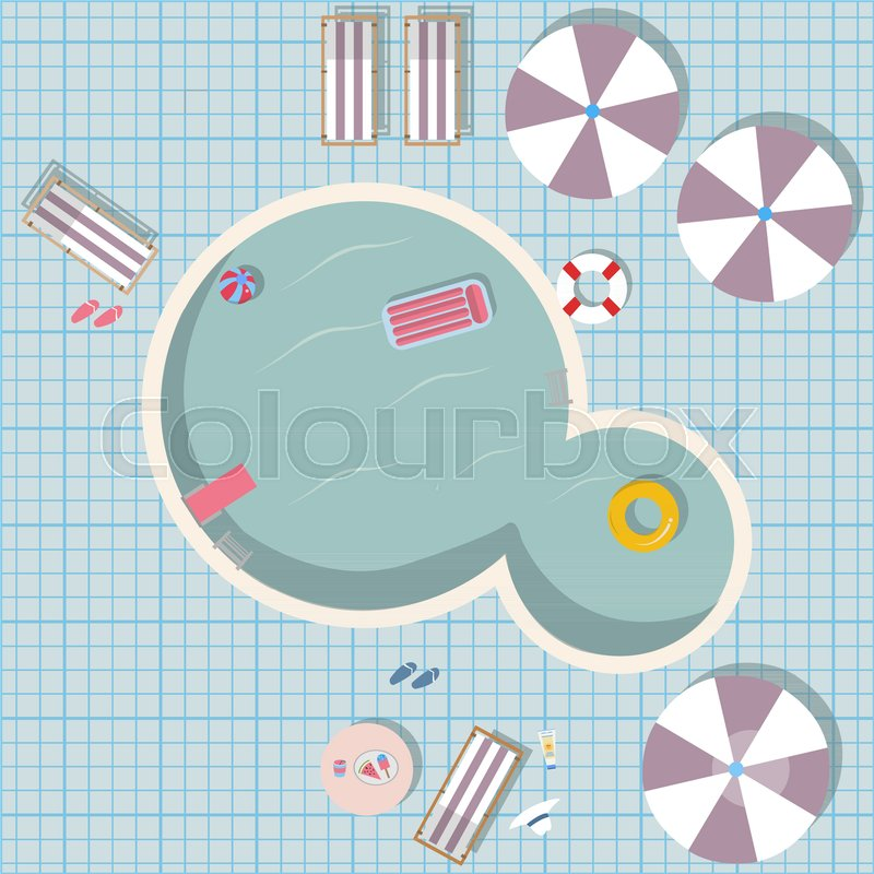 800x800 Swimming Pool Vector Illustration With Pool Toys Like Rubber Ring