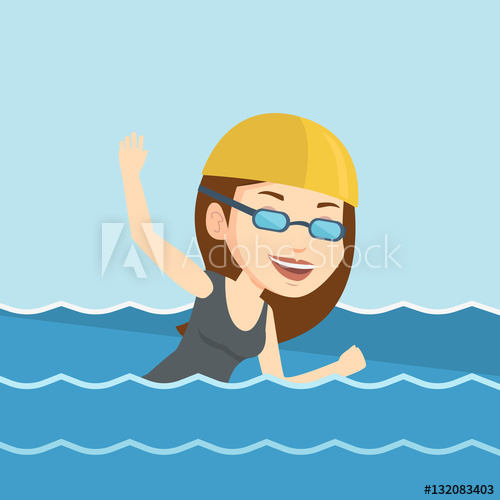 500x500 Woman Swimming Vector Illustration.