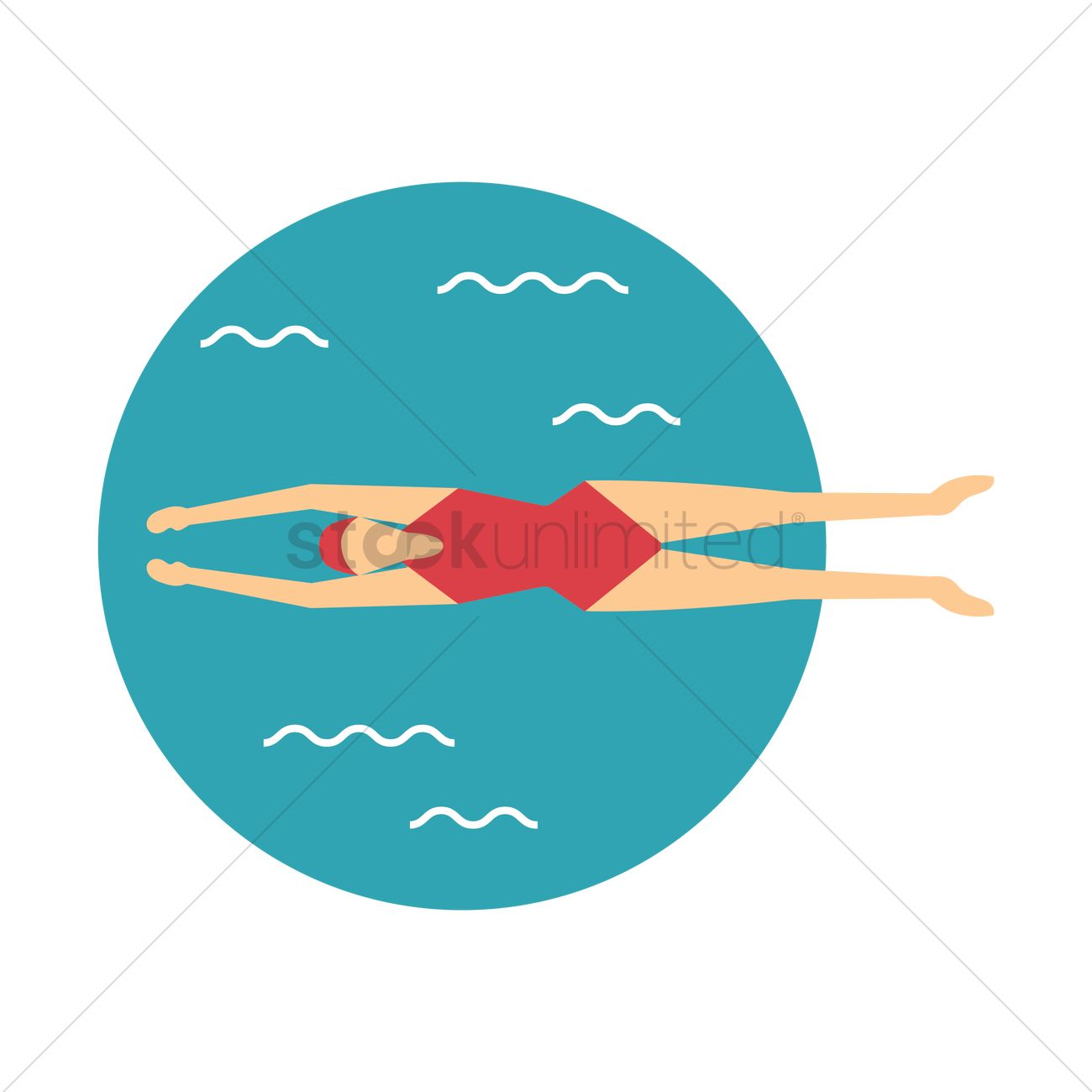 1300x1300 Free Woman Swimming Vector Image