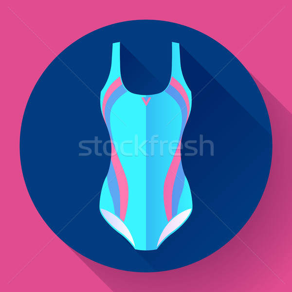 600x600 Fashionable Women One Piece Sport Swimsuit Vector Icon. Flat