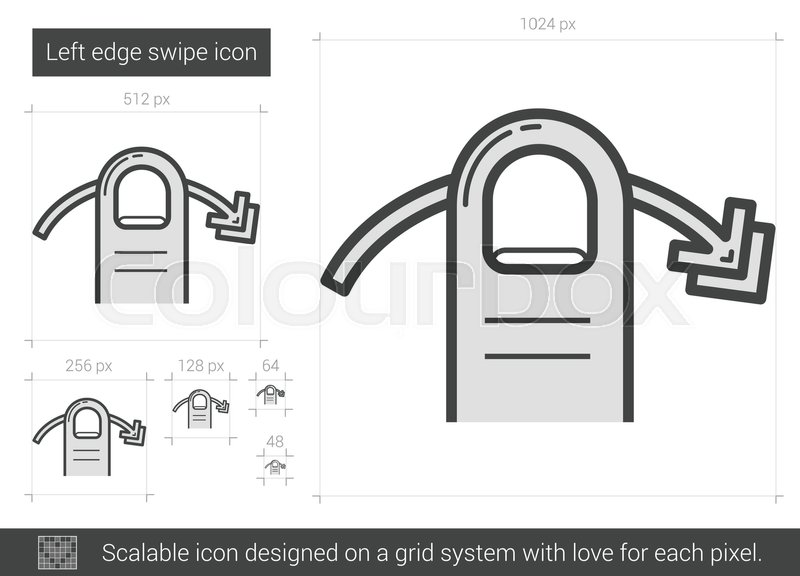 800x576 Left Edge Swipe Vector Line Icon Isolated On White Background
