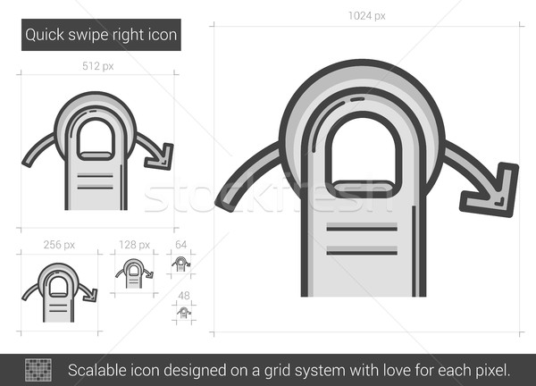 600x432 Quick Swipe Right Line Icon. Vector Illustration Andrei Krauchuk