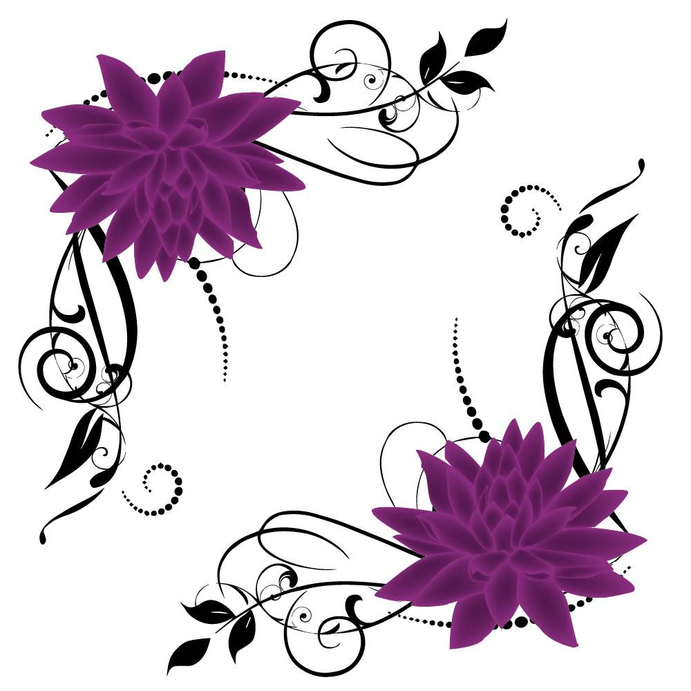 1000x1000 Purple Lotus Swirl Border Vector Angela