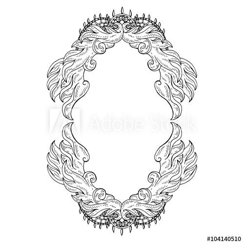 500x500 Swirl Floral Frame. Old Black Doodle Border. Vector Illustration