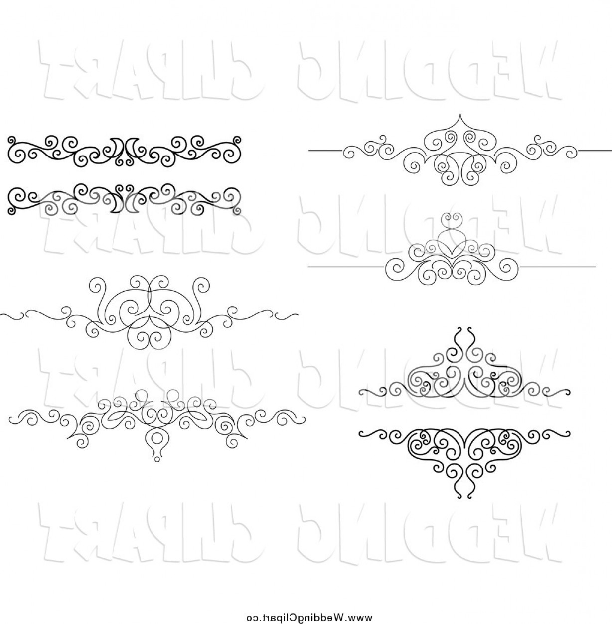 1228x1252 Vector Marriage Clipart Of Black And White Ornate Swirl Wedding