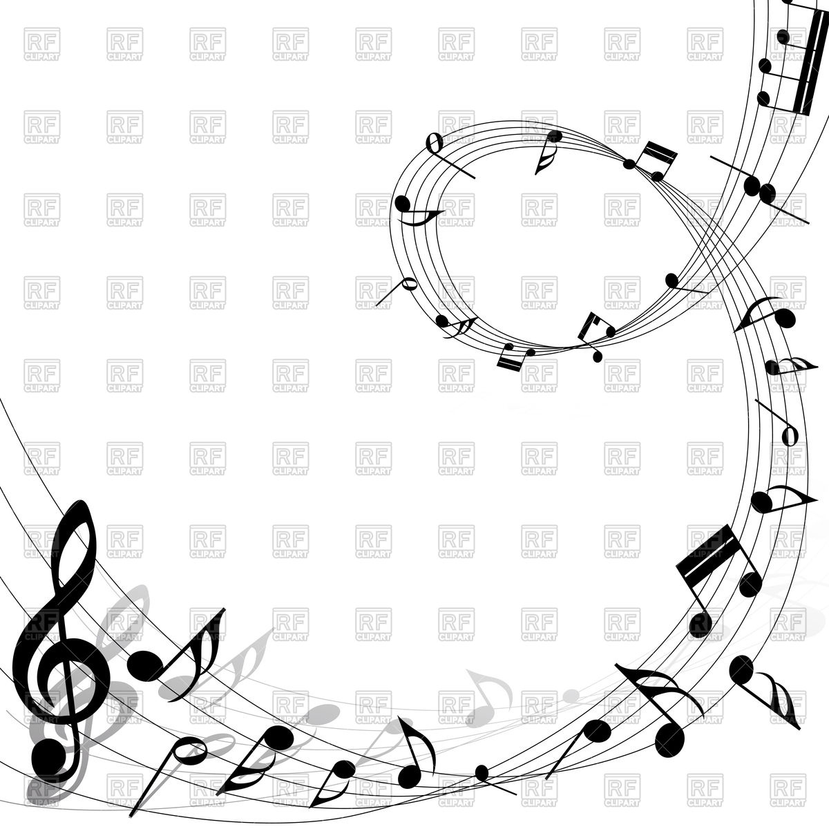 1200x1200 Musical Notes Swirl Design Background Vector Image Vector
