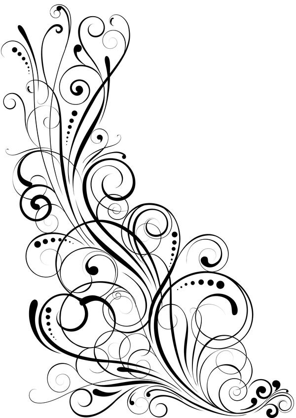 600x849 Angle Black Swirl Ornaments Design Vector Free Download