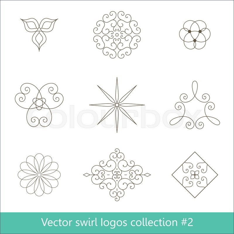 800x800 Floral Logos Collection. Vector Swirl Elements For Design. Thin