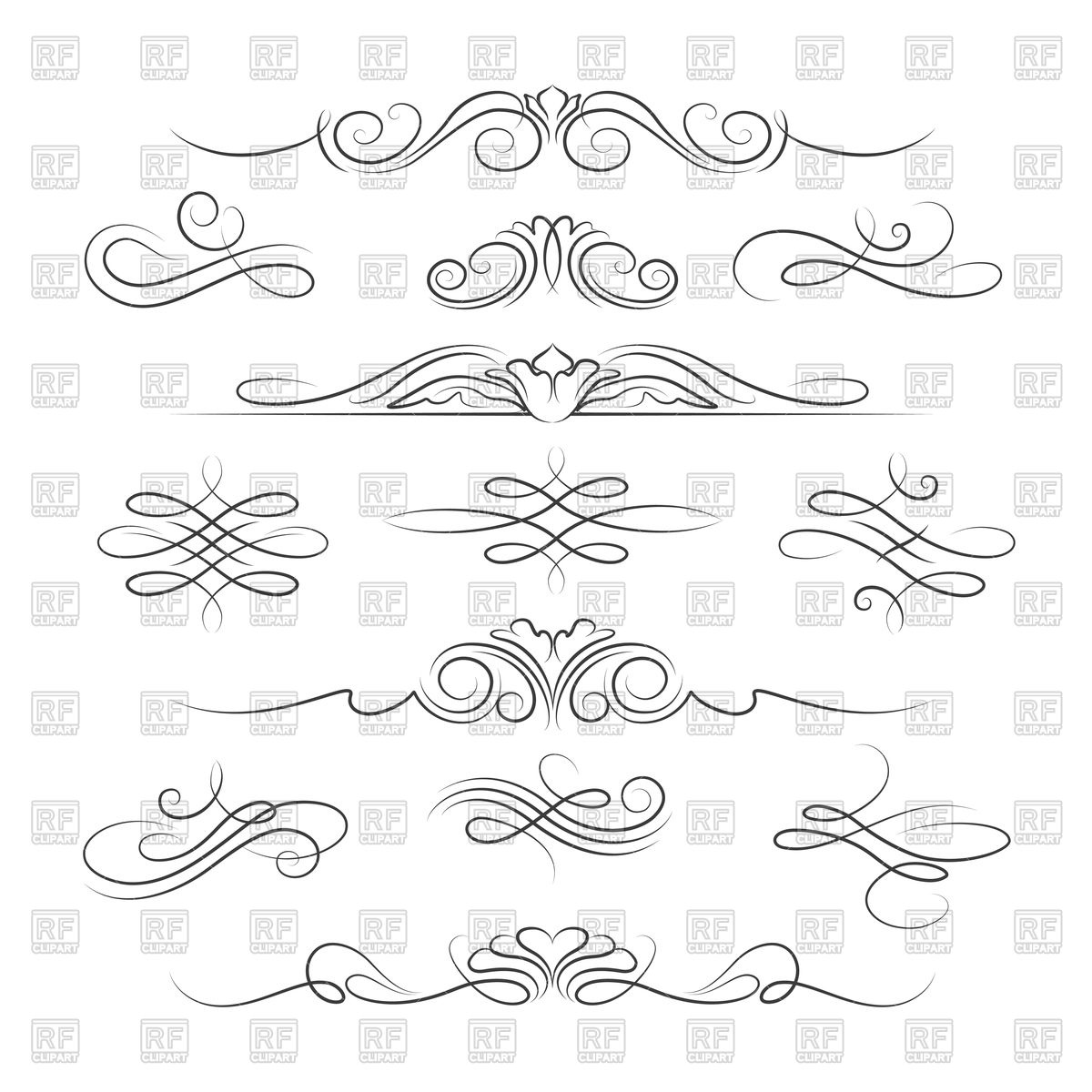 1200x1200 Set Of Vintage Decoration Elements With Swirl And Curve Vector