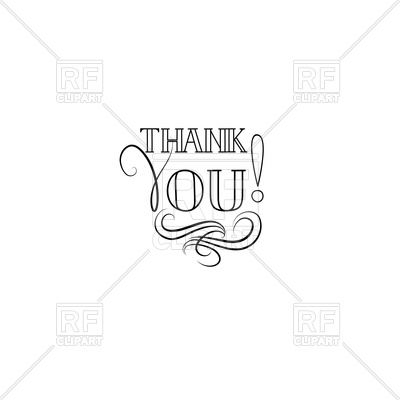 400x400 Thank You Greeting Card With Handwritten Lettering And Swirl Line