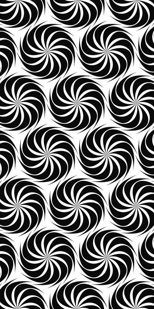 500x1000 Repeating Black And White Hexagonal Vector Swirl Pattern Design