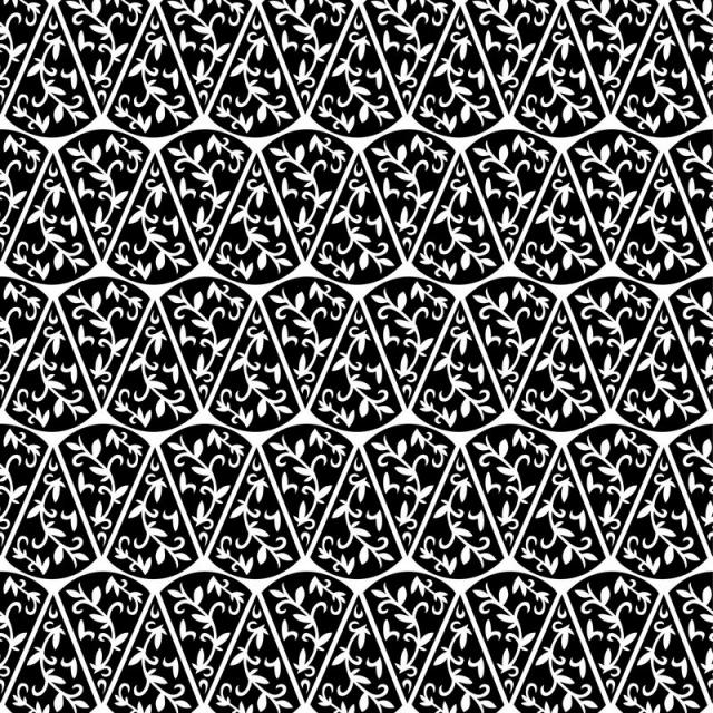 640x640 Vector Seamless Pattern. Black And White Repeating Swirl Pattern
