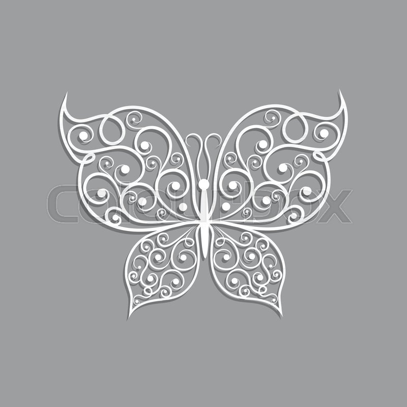 800x800 Beautiful Paper Butterfly With Swirl Pattern On Gray Background