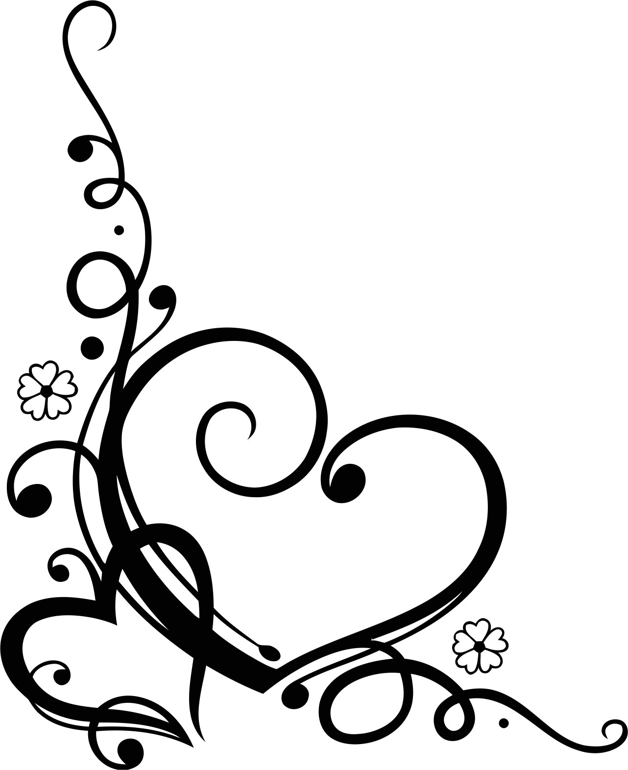 1282x1572 Love Heart Floral Swirl Vector Free Vector Download