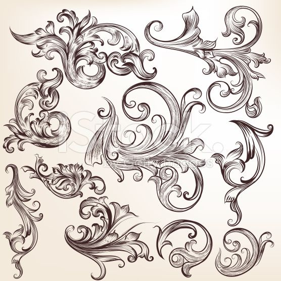 556x556 Collection Of Vector Flourishes And Swirls Vector Art, Royalty