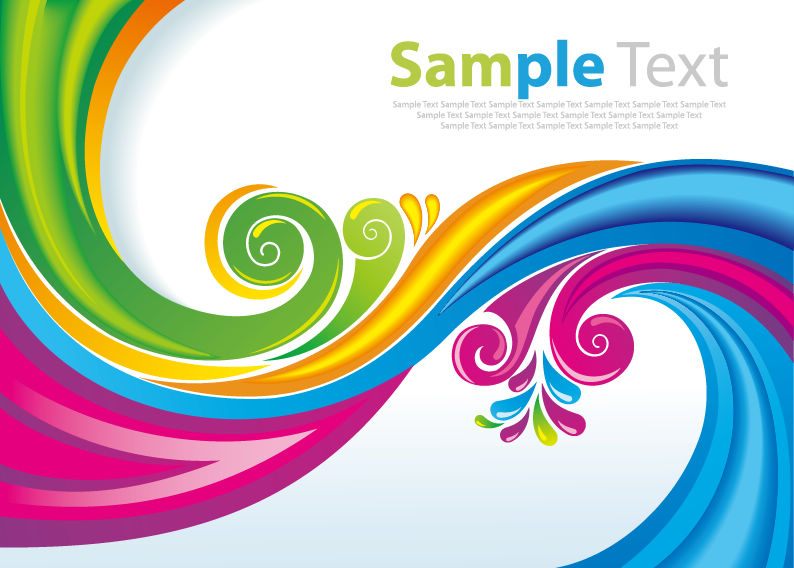 794x568 Free Vector Rainbow Floral Swirls Vector Art