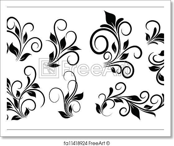 560x470 Free Art Print Of Flourish Swirls Vector Elements. Abstract