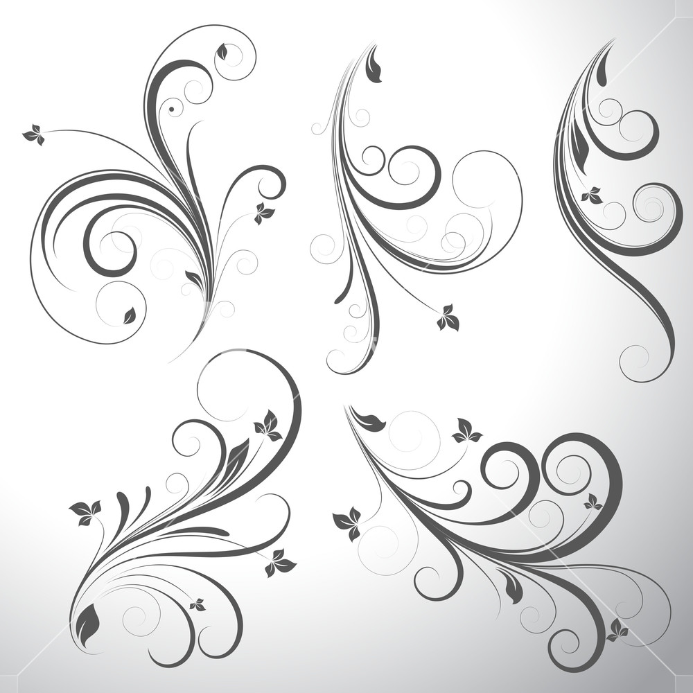 1000x1000 Swirls Vector Elements Royalty Free Stock Image