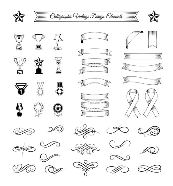 570x611 Ribbons Swirls Trophies Medals Set Svg Swirly Lines Etsy