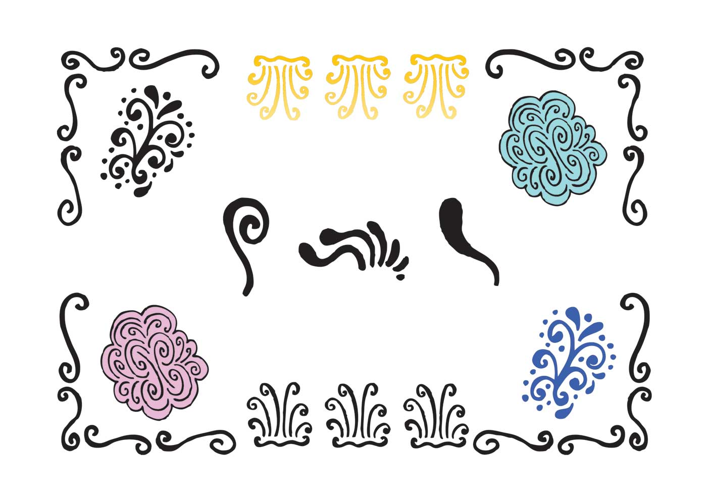 1400x980 Swirly Lines Icon Free Vector Art