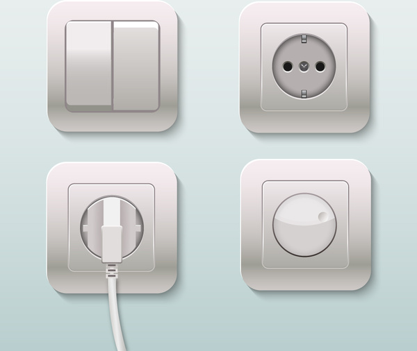 600x506 Plugs Sockets And Switches Realistic Vector Illustration Free