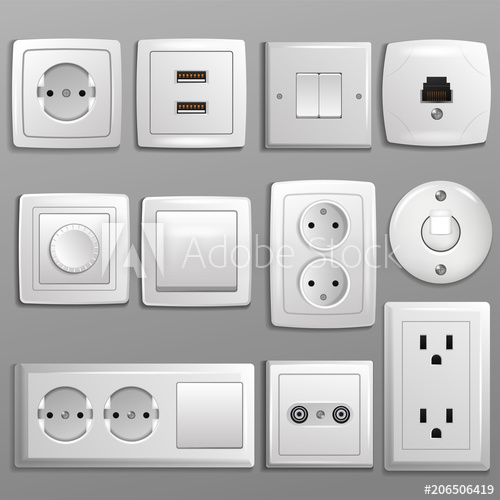 500x500 Socket And Switch Vector Electrical Outlet For Electric Plugs And