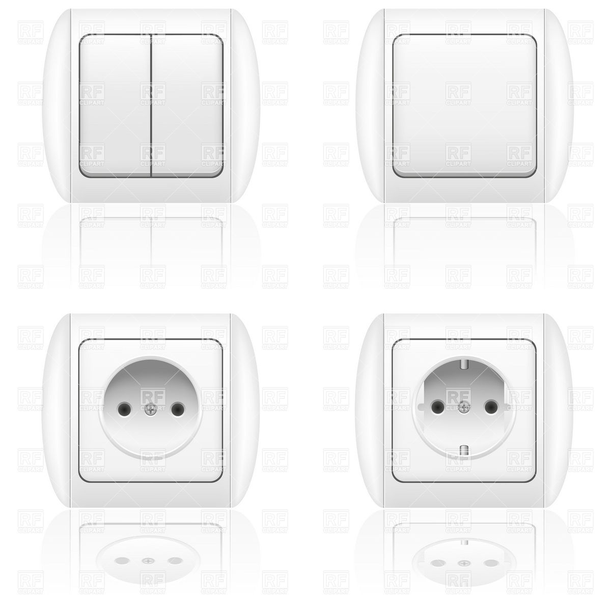 1200x1200 Electric Socket And Switch Vector Image Vector Artwork Of