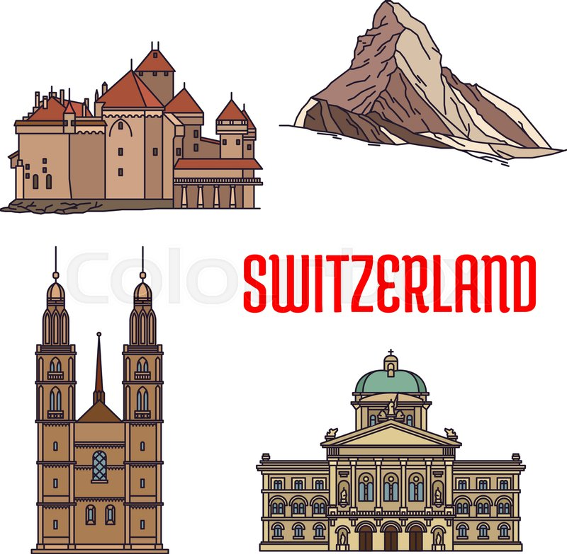 800x783 Historic Architecture Buildings Of Switzerland. Detailed Icons Of