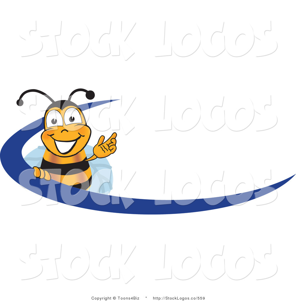 1024x1044 Vector Logo Of A Bee Mascot Cartoon Character Logo With A Blue