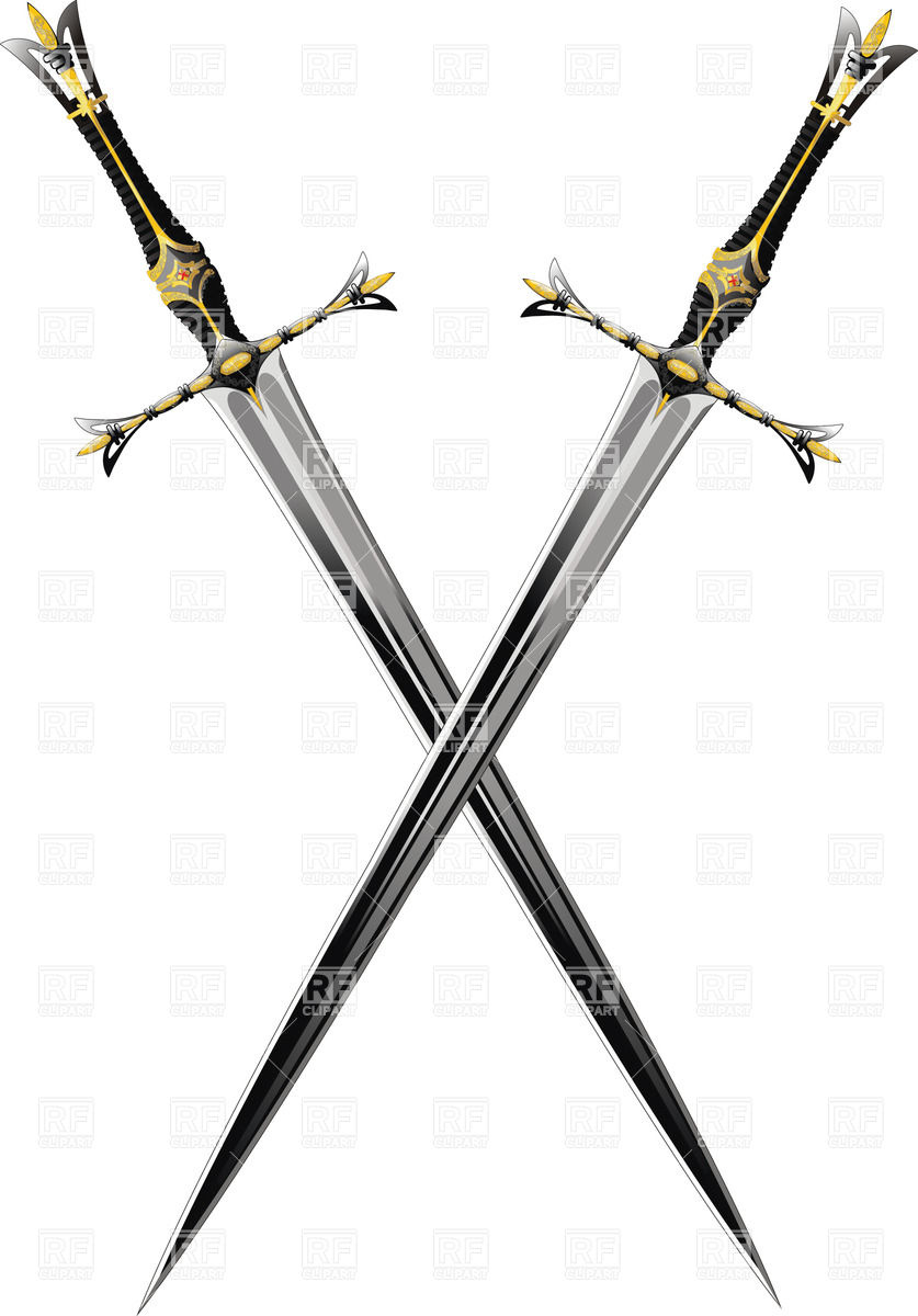 837x1200 Two Crossed Antique Swords With Ornate Hilts Vector Image Vector
