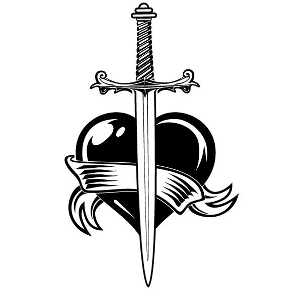 600x575 Sword Vector Free Heart With Sword Vector Clip Art Download Free